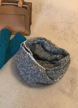 Шарф хомут вязаный крупная вязка мятный обьемный снуд теплый  шерстянной