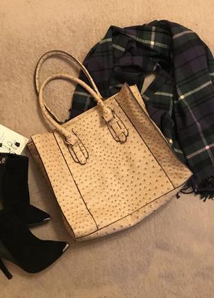 Сумка сумочка страусиная кожа шоппер