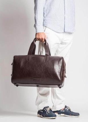Элитная презентабельная кожаная дорожная сумка для спортзала коричневая ручная работа