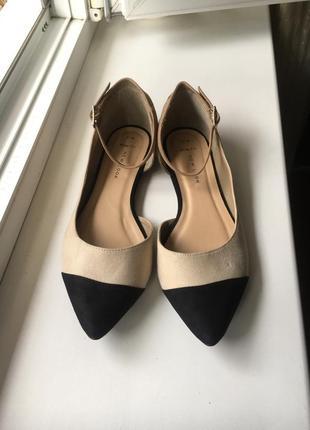Оригинальные классические туфельки балетки с острым носиком и закрытой пяточкой new look