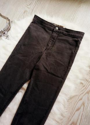 Серые джинсы скинни с очень высокой талией джеггинсы американки узкачи