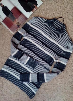 Сине-белый свитер в рубчик - xs и m (два размера!)