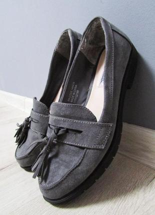 Серые замшевые туфли лоферы