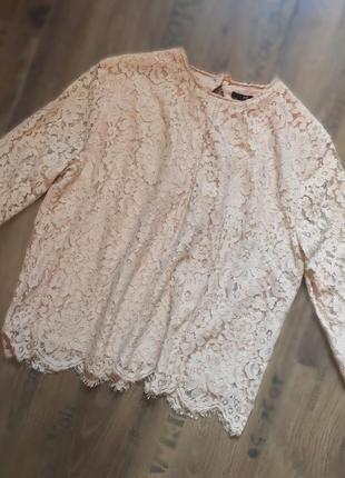 Ажурная кофточка, блузка кружевная с 3/4 рукавами