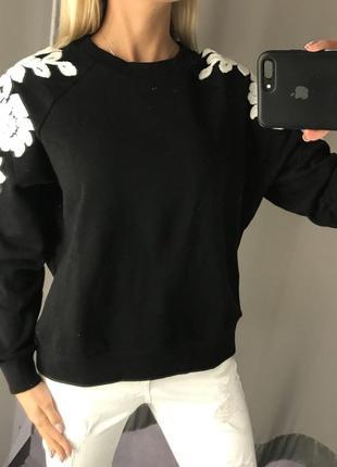 Чёрный свитшот тёплая кофта с начёсом толстовка. amisu. размеры уточняйте.