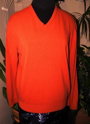 Стильный, мужской джемпер, терракотового цвета, с прямым покроем. от marks $ spencer