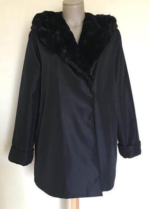 Доступно - болоневое пальто евро-зима с меховым капюшоном *junghojin* р. l