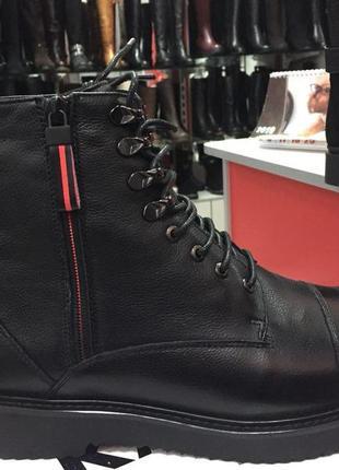 Кожаные мужские ботинки на натуральном меху respect