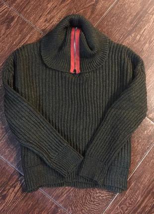 Брендовый свитер акрил хаки