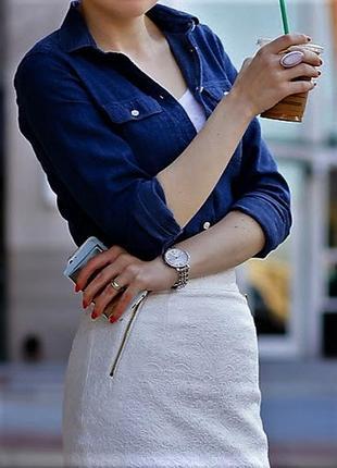 Красивая жаккардовая юбка с золотой фурнитурой от h&m m-s