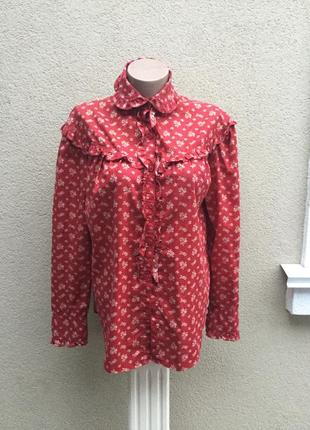 Винтаж,рубашка,блуза с рюшами,цветочный принт в этно,деревенском стиле,хлопок,