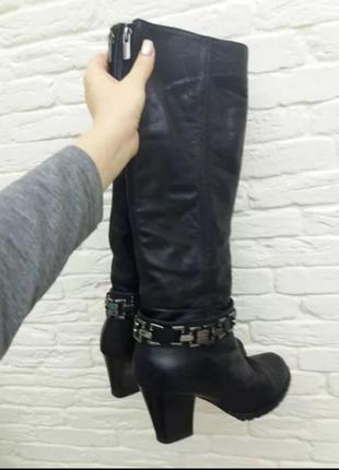 Женские зимние сапоги на каблуке, натуральная кожа и натуральный мех размер 39