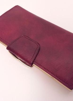 Шикарный кожаный кошелек красивого темно красного цвета