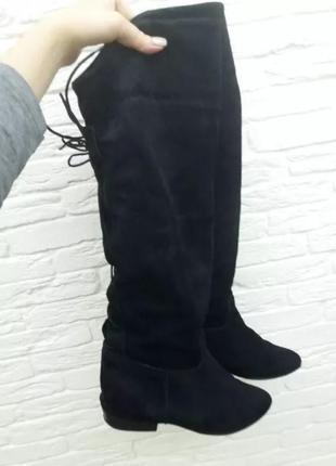 Женские сапоги ботфорты на низком каблуке с узким носком, натуральная замша, размер 39