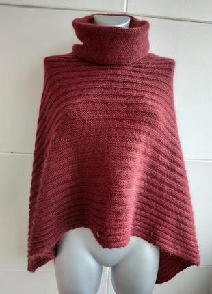 Актуальная уютная шерстяная накидка esprit бордового цвета