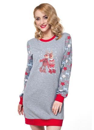 Теплое новогоднее платье для дома от xs до 2xl