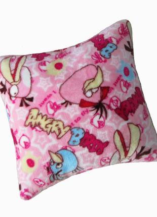Подушка детская angry birds махровая 35х35 розовая новая
