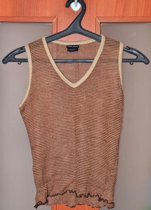 Брендовая шерстяная жилетка, жилет, цвет коричневый, laundry industry