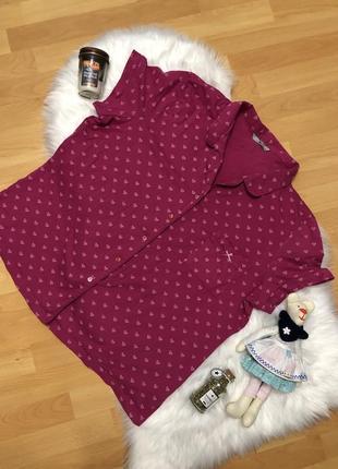 Пижамная рубашка кофта милая розовая в сердечко