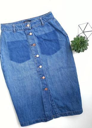 Джинсовая юбка миди на пуговицах с имитацыей карманов