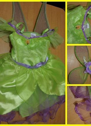 Disney карнавальный костюм - платье фея динь-динь 5-6 лет