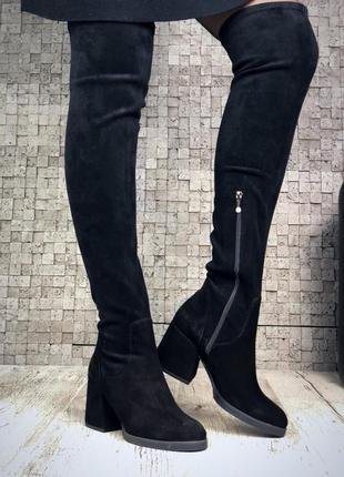 Рр 36-40 натуральный замш люксовые стильные высокие черные ботфорты чулки