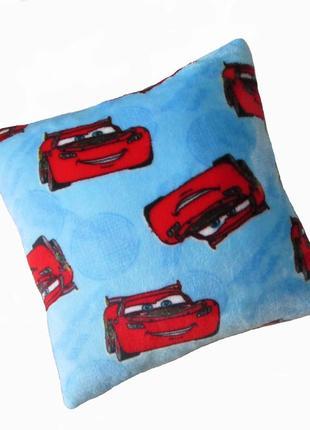 Подушка детская cars (тачки) махровая 35х35 голубая новая