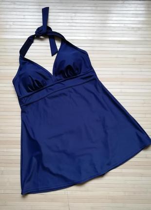 Темно-синий сдельный купальник платье