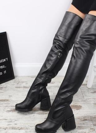 Рр 36-40 зима натуральная кожа люксовые высокие черные сапоги ботфорты