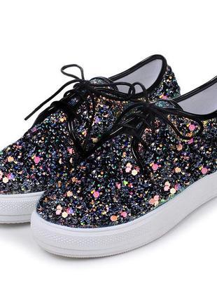 Туфли на шнурках, ботинки, мокасины с глиттером блестки хамелеон голографические пайе́тки