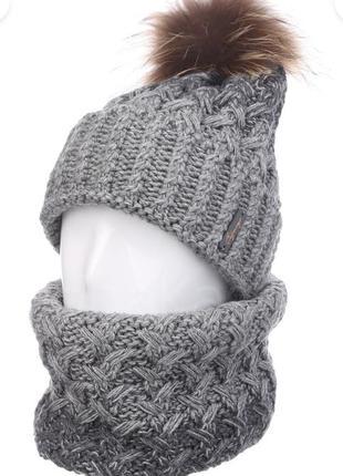 Шикарный зимний комплект (шапка, шарф бафф хомут) odyssey