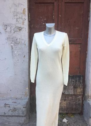 Платье в пол миди айвори молочное слоновая кость шерсть бренд benetton
