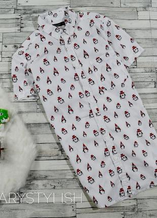 Рубашка новогодняя с пингвинами cedarwood