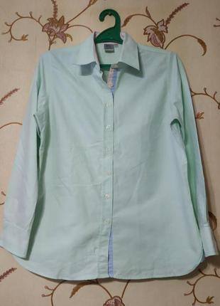 100% хлопок,красивейшая мятная рубашка с цветными вставками oxford shirt co