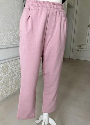 Брюки штаны прогулочные  для отдыха, розовые, трикотаж, флис