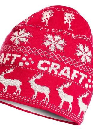 Теплая вязаная шапка бини зимняя на флисе шерстяная можно лыжная craft швеция