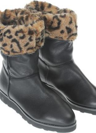 Натуральные зимние кожаные сапоги, набивной мех, pull&bear, испания, бирка, 23 см