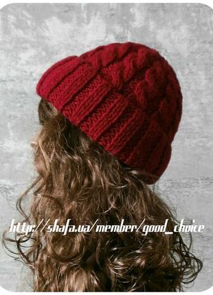 Любая расцветка! с помпоном и без! хлопковая шапка с отворотом/с косами/цвета спелой вишни