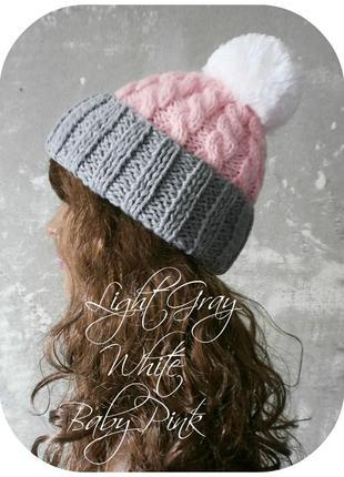 Любая расцветка! хлопковая шапка с отворотом/помпон/нежно-розовый, светло-серый, белый