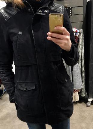 Тёплая зимняя парка zara куртка пуховик размер:м оригинал!