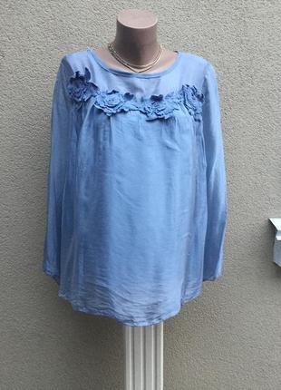 Голубая,шелковая блуза,рубаха с вышивкой по груди,шёлк 100%, италия