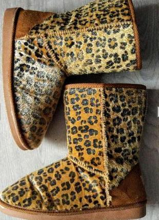 Клевые леопардовые угги из эко меха под пони.