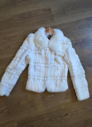 Стильный полушубок кролик шуба мех натуральный пальто