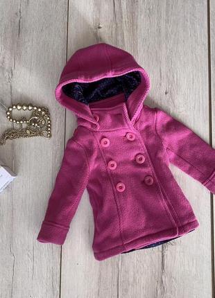 Яркое тёплое малиновое пальто до 2лет by george