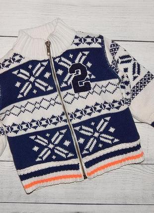 Очень теплая кофта меховушка на молнии, свитер,для мальчика 6-9 месяцев. 74 рост.