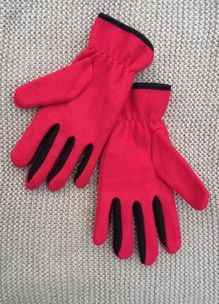 Рукавиці флісові червоні, перчатки красные, варежки