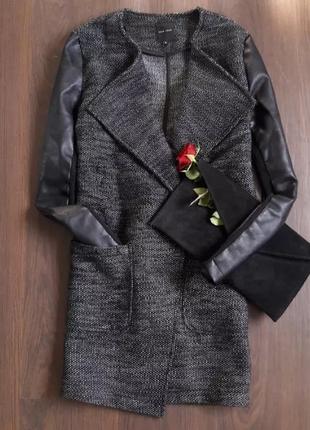 Пальто бойфренд с кожаными рукавами new look