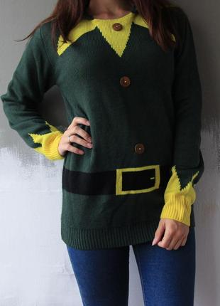 🎅 новогодний свитер, рождественский свитер, свитер с колокольчиком, свитер эльф
