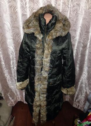 Пальто утиный пух и шкура кролика