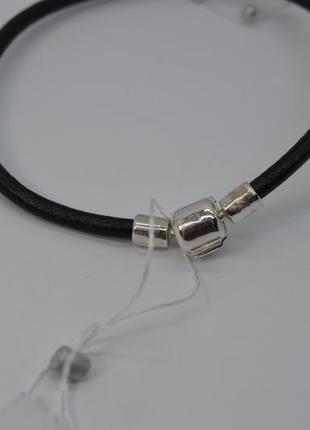 Кожаный браслет #пандора, #для_бусин, #серебро_925, #унисекс, 20см